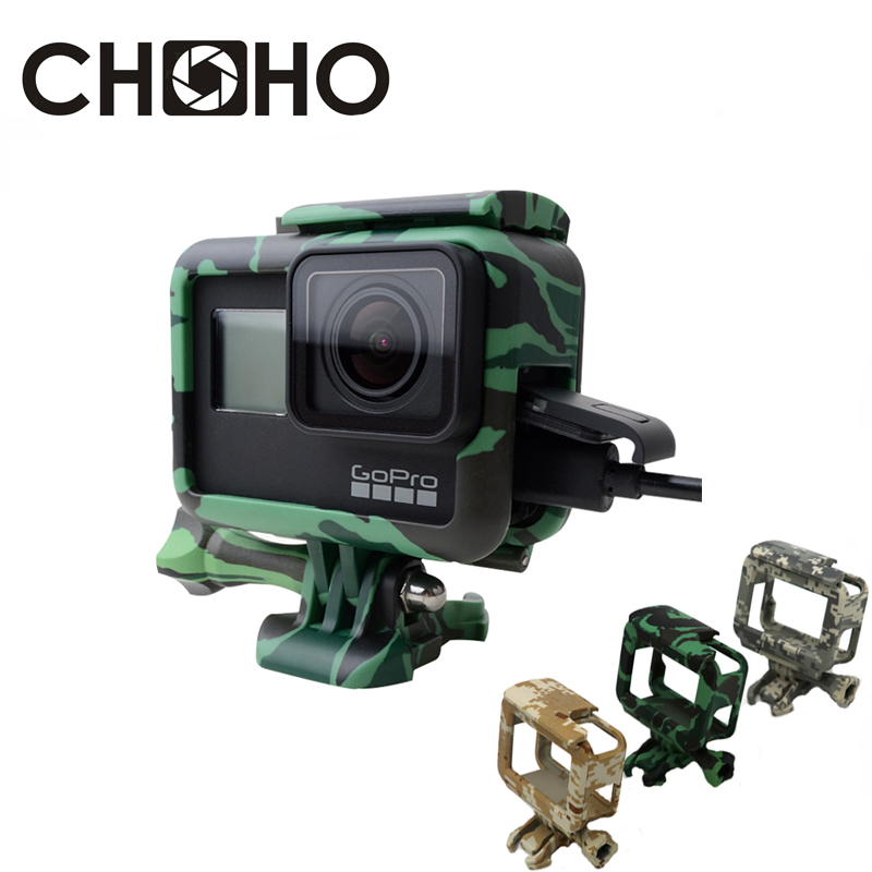 For Gopro Frame Case Shell Protector Housing Army Green + Lone Screw + Base Mount For Go Pro Hero 5 6 7 Black New Accessories(China)
