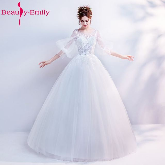 Beauty Emily Pure White Wedding Dresses 2017 O-neck Ball Gown Wedding Party  Bridal Ceremony Dresses High Quality 9e45d9046863