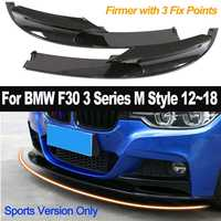 2pcs Front Bumper Cover Lip Carbon Fiber Surface for BMW F30 3 Series M Style 2012 2018 Only for Sports Version Exterior Parts