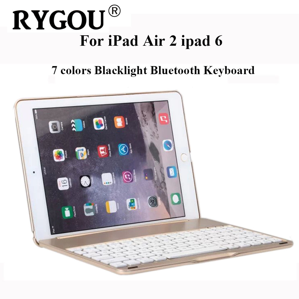 RYGOU For iPad Air2 iPad 6 Detachable 7 Colors Backlight Backlit Aluminum Wireless Bluetooth Keyboard With Stand Case Cover аксессуары iport surface mount bezel white with 6 buttons for ipad air 1 2 pro9 7