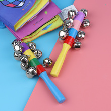 1Pc Hot Sale Baby Rainbow Colorful Wooden Jingle Hand Bells For Kids Baby  Cradle Rattles Eco Friendly Music Shake Toys