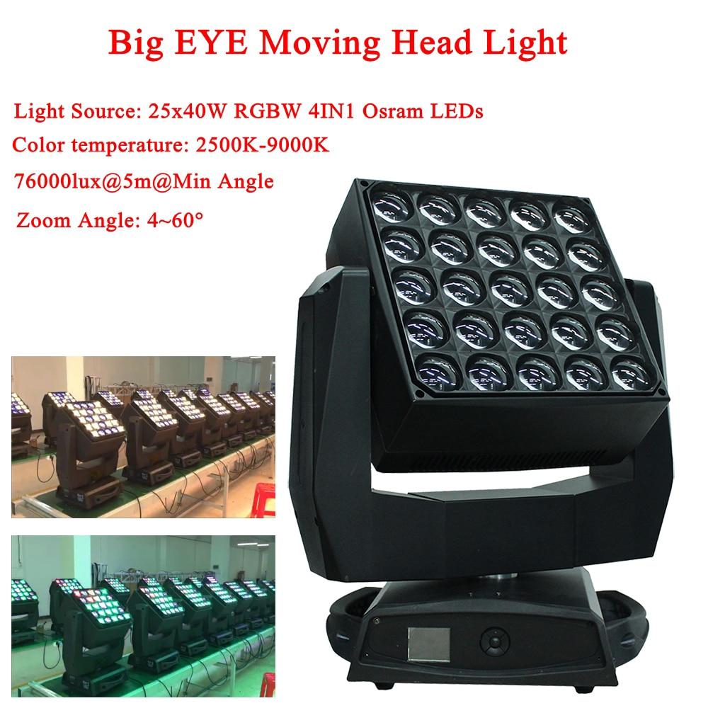 Professional Zoom Function 25x40W RGBW 4IN1 Bees Eyes Big Eyes Moving Head Light Nightclub KTV DJ Disco Party Stage Lighting