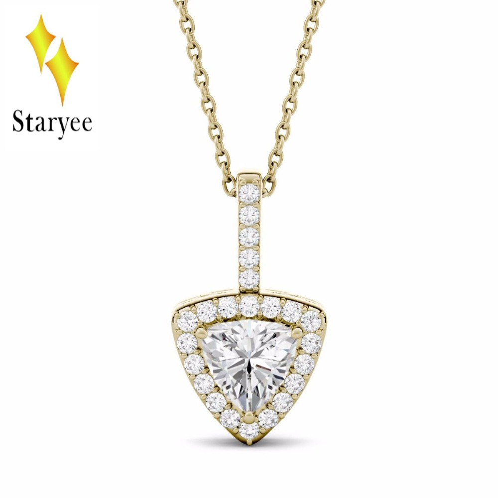 Real 18K 750 Solid Yellow Gold 1.0ctw 7mm Delicate Simple Trillion Cut Moissanite Diamond Halo Pendant Necklace For Women Gift 18k 750 white gold moissanite pendant round cut lab grown moissanite diamond chain pendant necklace for women in fine jewelry
