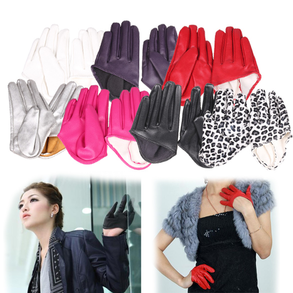 Hot Woman Tight Half Palm Gloves Imitation Leather Five Finger Mittens Vivid Color