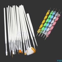 15Pc Nail Art Design Brushes + 5Pc Dotting Painting Drawing Polish Pen Tools Kit-Y107