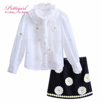 Pettigirl Floral Girl Clothing Sets White Full Tops and Vest Black Flower Skirt For Girls Suit Causal Kids Clothing CS90222-638F