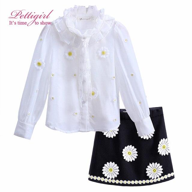 Pettigirl floral conjuntos de roupas menina branca topos completos e colete preto flor saia para as meninas terno roupas causais crianças cs90222-638f