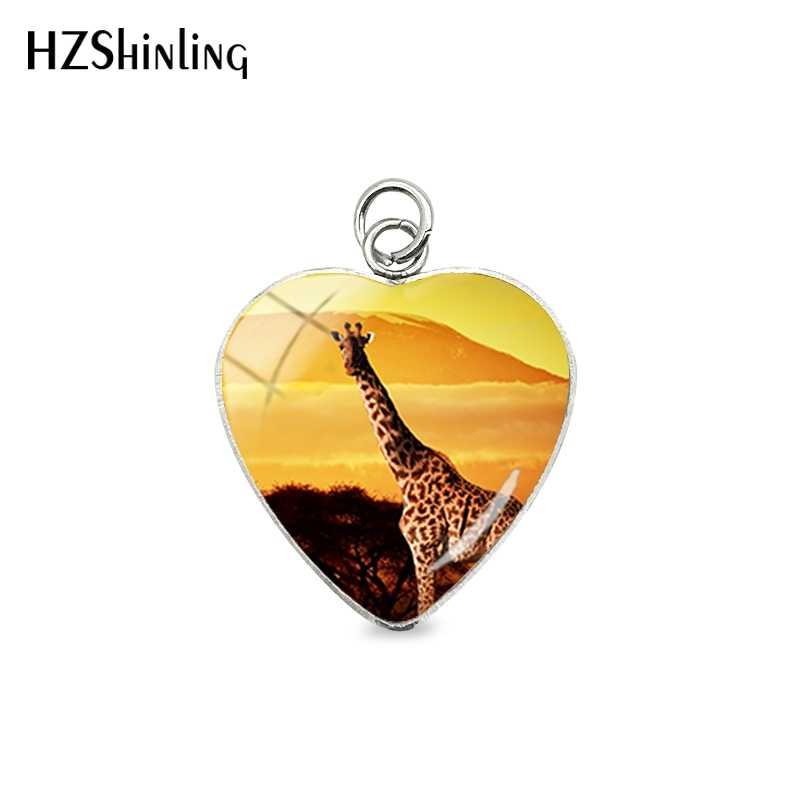 日没日の出キリンアフリカ動物ハートステンレス鋼メッキチャームペンダントハンドクラフトバッグ服アクセサリー