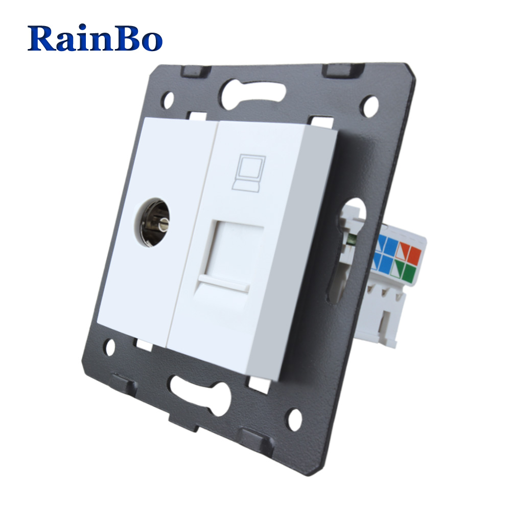 RainBo Free Shipping White Plastic Materials DIY Accessory Function Key For TV and Computer Socket EU Standard A8TVCOW welaik free shipping white plastic materials diy accessory function key for hdmi socket eu standard socket a8hd