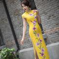 TIC-TEC chinese traditional dress women vintage yellow print cheongsam long qipao oriental dresses elegant evening clothes P3107