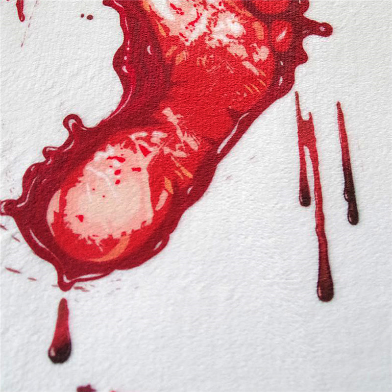 1 PC New 40*60CM Soft Blood Footprints Floor Mat Non-slip Scare Thriller Door Mats Halloween costume party Drcration