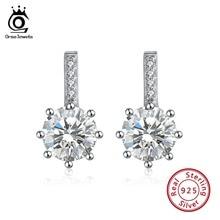 ORSA JEWELS 925 Sterling Silver Vintage Long Earrings With AAA Zircon Stud Earings 13mm Women Jewelry Wedding Gift OSE109