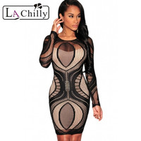 Women Royal Blue Apricot Lace Nude Illusion Long Sleeves Retro Bodycon Party Dress 2015 Robes Femmes