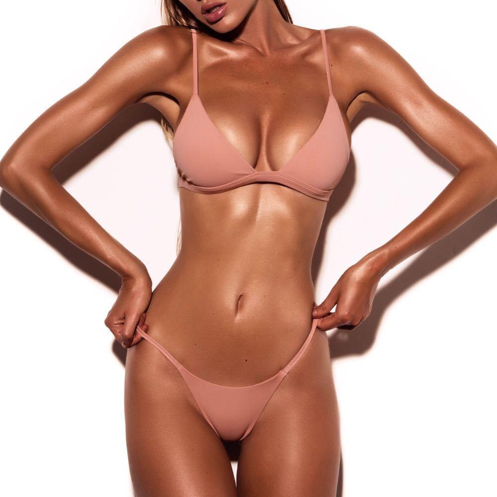 2017 New Two Piece Sexy Women Solid Swimwuit Set Bandage Push Up Padded Bikini Swimwear Bathing Suit Beachwear Biquini S/M/L