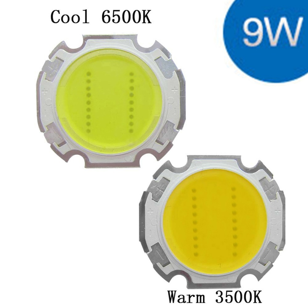 9W Cool / Warm White High Power Round COB LED SMD Light Part Bulb Lamp 900LM DC27-31V