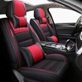 (Delantero + trasero) cuero y lino auto asiento cubre para Toyota camry 40 50 2007 2008 2009 2012 2018 fortuner 2017 highlander Hilux