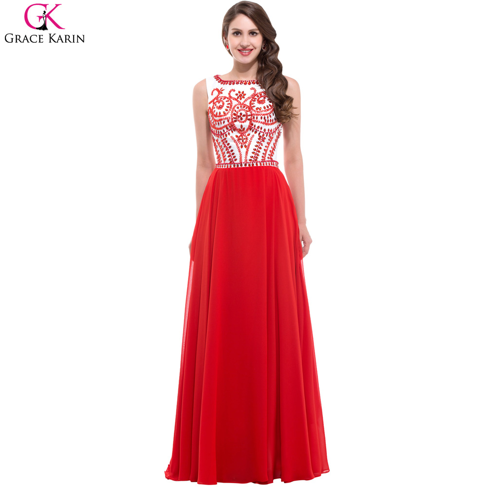 Grace Karin Red Long Evening Dresses Luxury Beaded Long ...