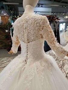 Image 5 - LSS047 élégante robe de mariée ivoire col rond à manches longues à lacets dos musulman vestido madrinha de casamento longo