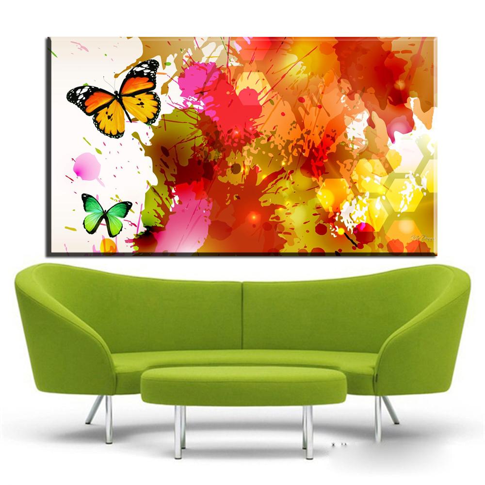 Xdr746 Graffiti Schmetterlinge Flattern Kreative Abstrakten Leinwand Gemlde Auf Poster Wand Pop Art Fr Wohnzimmer Cua