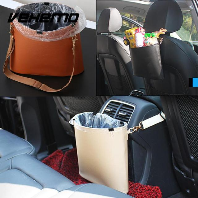 Vehemo Car Trash Bin Auto Leather Litter Bag Basket Leakproof Garbage Holder Vehicle