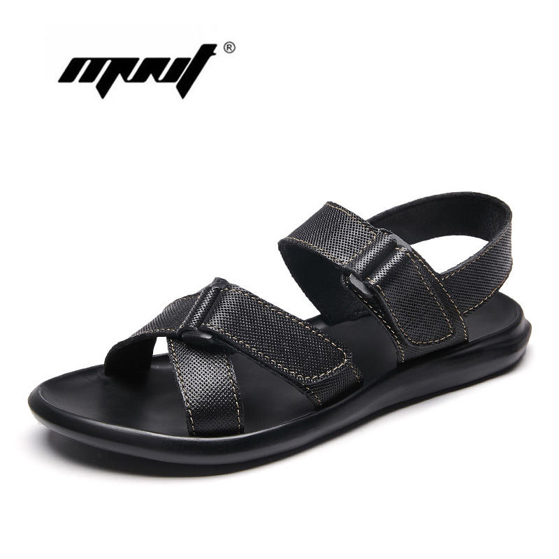 Genuine Leather Men Sandals Waterproof Summer Flats Shoes Men Breathable Summer Casual Beach Shoes Slippers