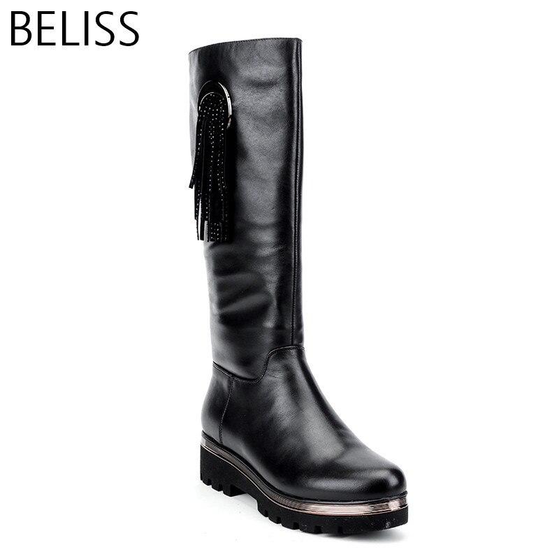 BELISS/2018 г.; теплые сапоги из натуральной шерсти; новые модные женские зимние сапоги до колена; Осенняя обувь на платформе из натуральной кожи