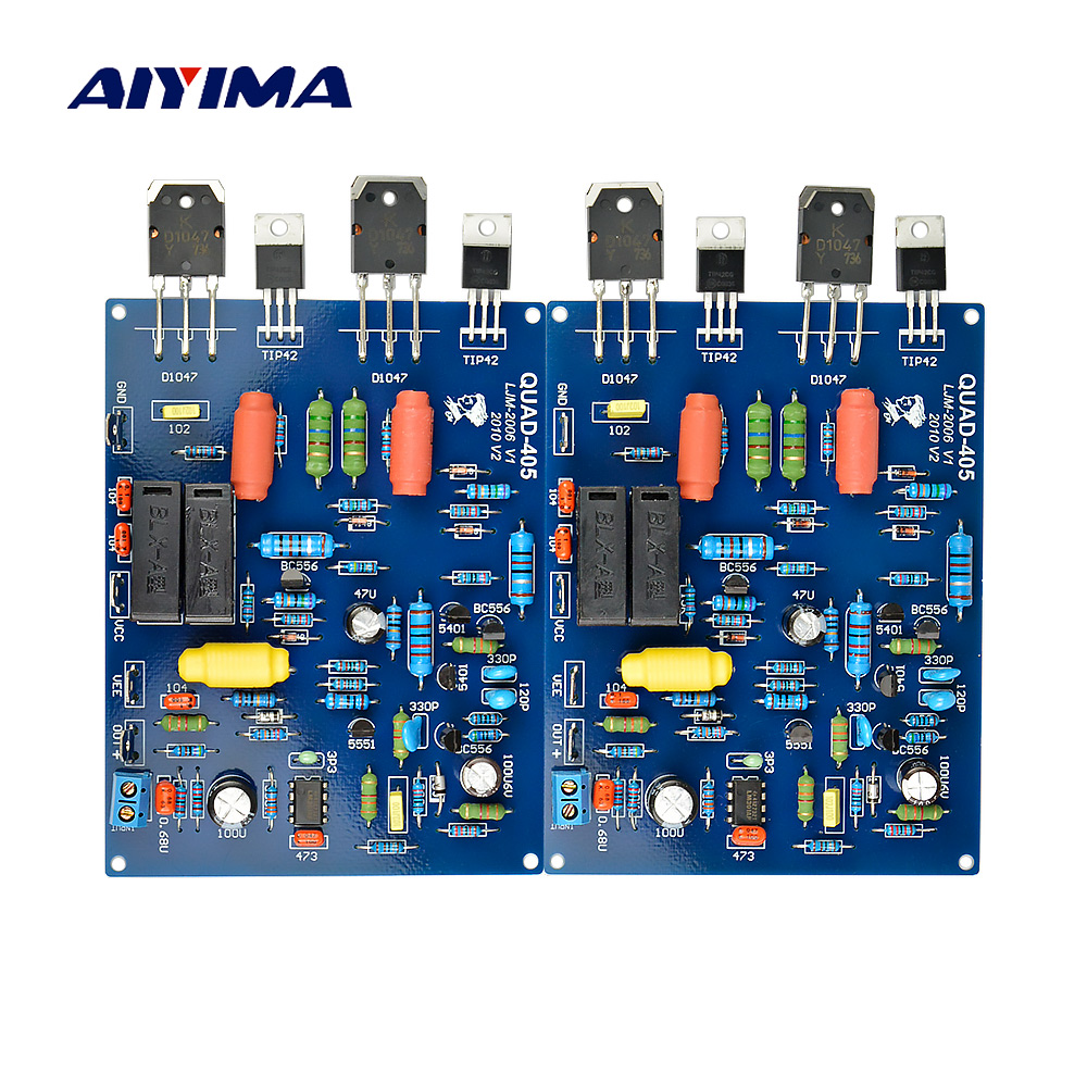 цена на Aiyima Assembled QUAD405 100W+100W Audio Power Amplifier Board 2 Channels DIY KIT