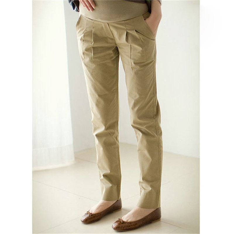 Comfortable Casual Maternity Pants For Pregnant Women Long Trousers Adjustable Pregnancy Clothing with Pocket Black Khaki  Hot