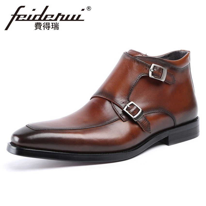 New Vintage Genuine Leather Mens Monk Straps  Ankle Boots Pointed Toe Handmade Cowboy Riding Man Italian High-Top Shoes YMX647New Vintage Genuine Leather Mens Monk Straps  Ankle Boots Pointed Toe Handmade Cowboy Riding Man Italian High-Top Shoes YMX647