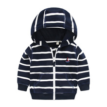 Boys striped coat in the autumn of 2016 the new children's clothing han edition zipper jacket unlined upper garment