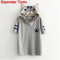 Summer-Style-Women-Tops-Anime-Kawaii-Cat-Shirt-Neko-Atsume-School-Clothes-Kawaii-Mori-Girl-Tee-Roupas-Superstar-Town-3