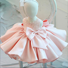 New Fashion Beaded Bow Baby Girl Dress Princess Fluffy Tulle Infant Clothes Baby Girls Baptism Christening 1st Birthday Gown