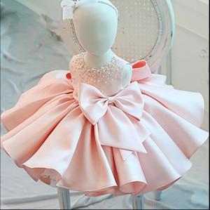 Nuevo vestido de lazo con cuentas a la moda para bebé niña, vestido de princesa de tul esponjoso, ropa infantil para niñas bebé, bautizo, vestido de 1er cumpleaños
