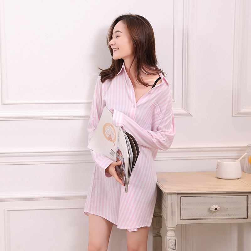 Women Cotton Nightgowns Sleepshirts Pink White Striped Silver Lines Cotton Sleepshirt Long Sleeve Sleepwear Cotton PJ Top