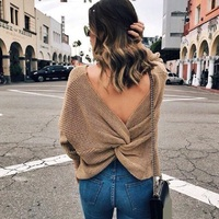 Faroonee Womens V Neck Backless Sewaters Long Sleeve Cross Tie Knot Sexy Crop Tops Short Knitting
