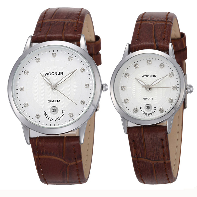 WOONUN Top Famous Brand Luxury Lovers Watches Leather Strap Rhinestone Quartz Couple Watch Set Fashion Couple Watches For Lovers