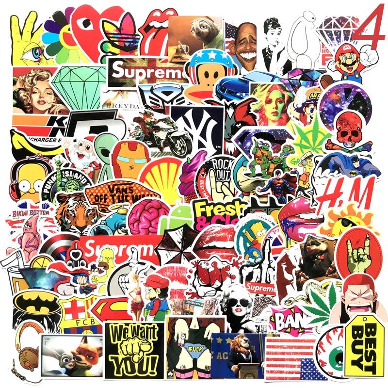 Das Beste 100 Pcs Cartoon Graffiti Stil Aufkleber Für Auto Fahrrad Motorrad Telefon Laptop Reise Gepäck Coole Lustige Aufkleber Bombe Jdm Decals Sammeln & Seltenes