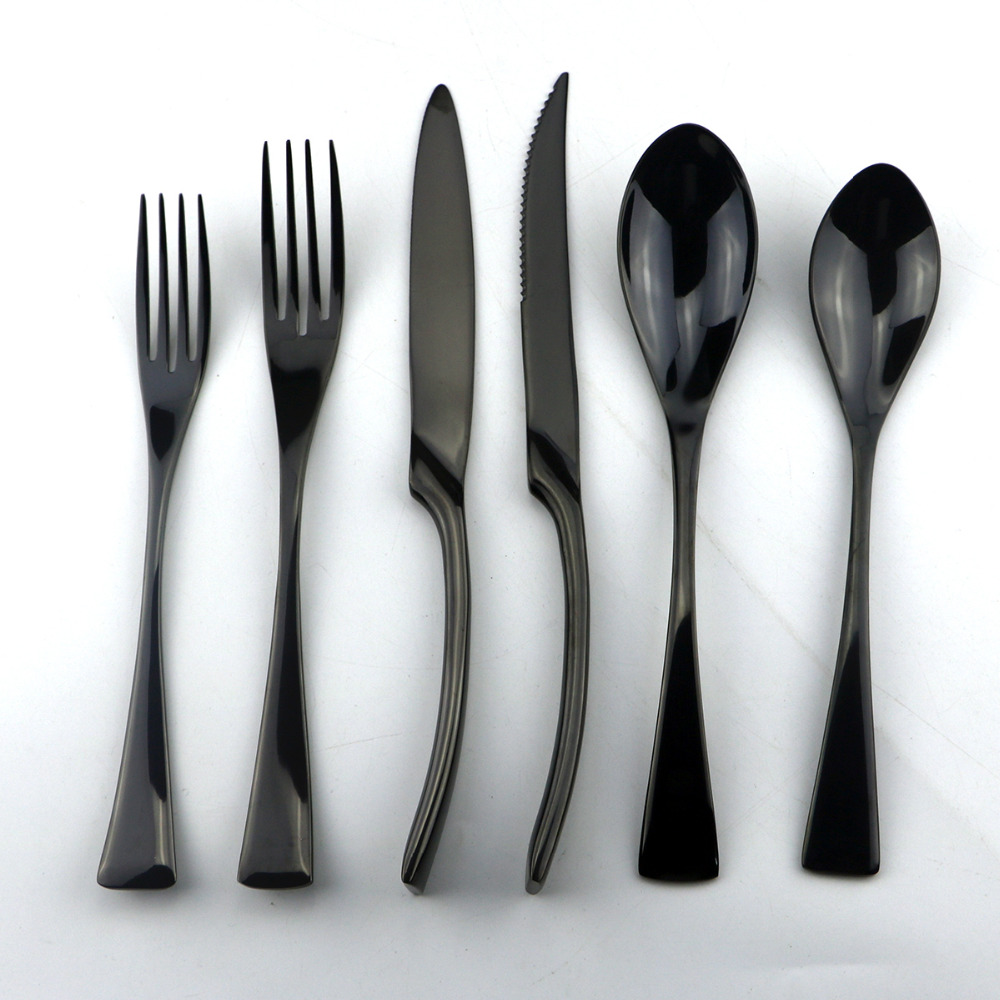6Pcs Lot 18 10 Stainless Steel Dinnerware Set Black Cutlery Set Dinner Knife Scoops Silverware Set