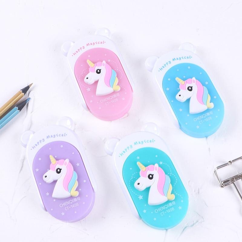 Cute Cartoon Creative Kawaii Unicorn Correction Tape For Kids School Supplies Materials Korean Stationery Student Papeleria