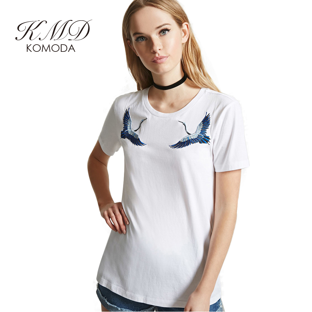 Kmd komoda animal embroidery t shirts women short sleeve for Women s crew t shirts