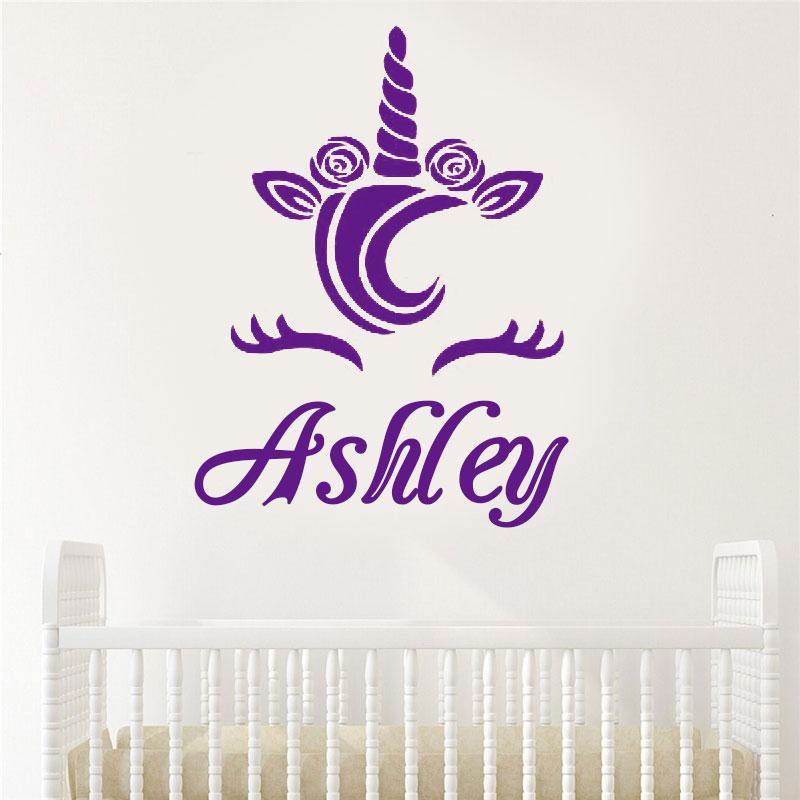 Cute Unicorn Name Decal,Personalized Name, Custom Wall Decal,Children Nursery Decor,Baby Girl Room 3N19