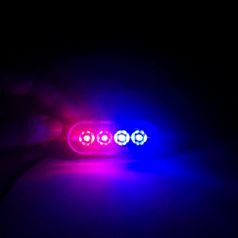 New 4 Led Strobe Warning Light Strobe Grille Flashing Lightbar Truck Car Beacon Lamp Amber Blue Red Traffic Light