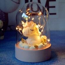 Creativo dibujo unicornio LED luz de noche novedad DIY dormitorio batería luces decorativas lámpara para niños navidad regalo de Año Nuevo