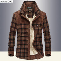 Winter Snow Warm Men Shirts Fleece Lined Plaid Plus Velvet Brand AFSJeep 100 Cotton 2018 New