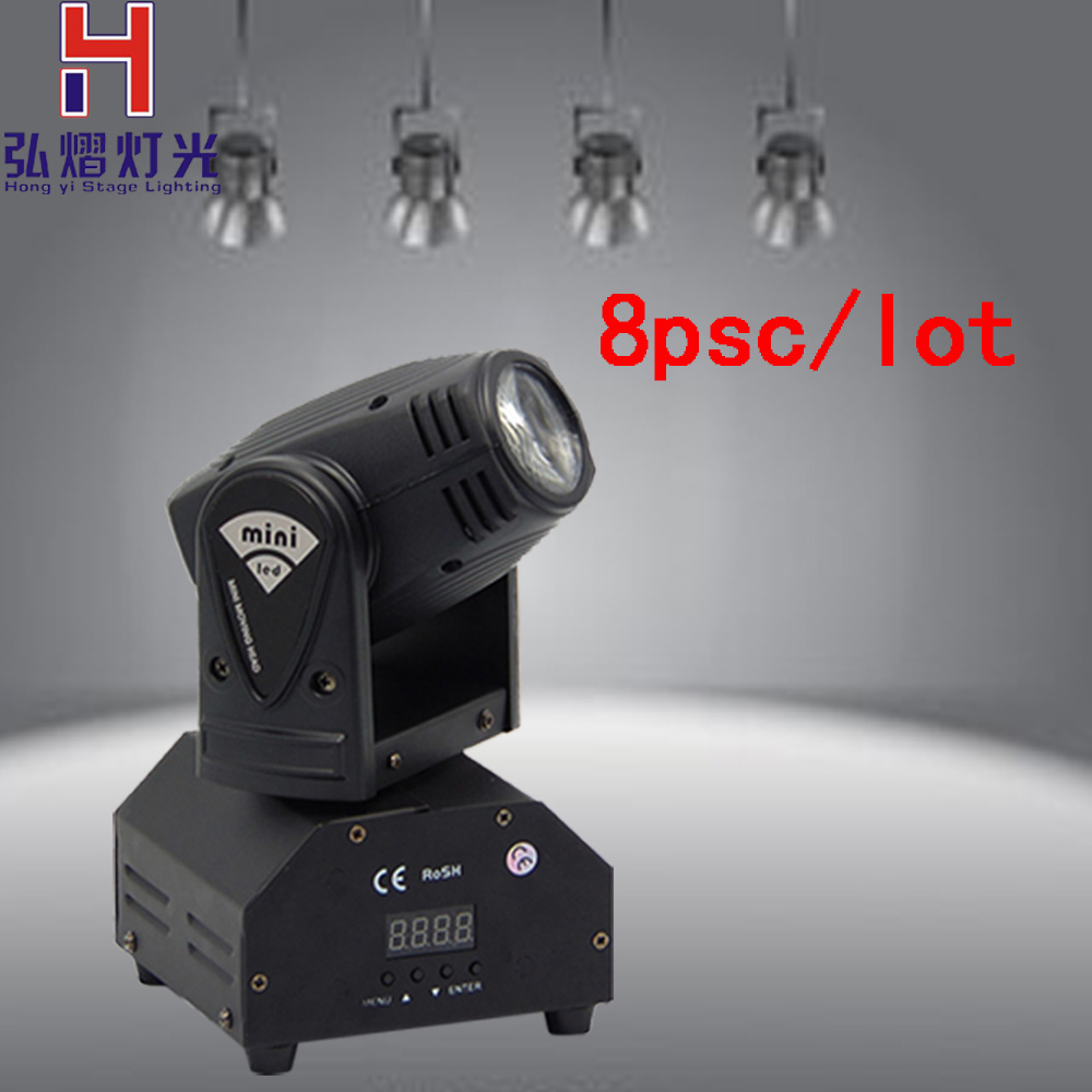 все цены на 8XLot Hong Yi Stage Lighting led beam moving head light mini beam light dj 10w Cree LED RGBW disco lighting онлайн