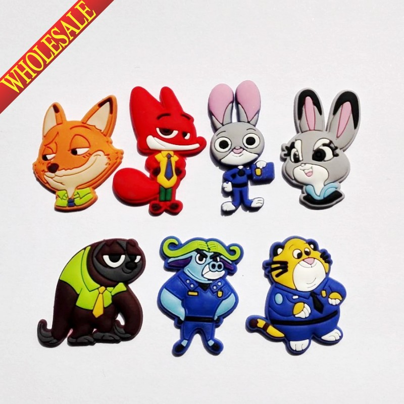 Retail 7PCS ZOOTOPIA PVC shoe charms shoe accessories shoe buckle for wristbands bracelets croc kids party ift стоимость