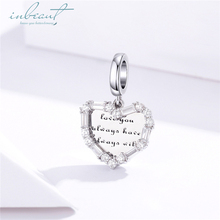 inbeaut Hot Sale 100% 925 Sterling Silver White CZ fit Pandora Bracelet Heart Romantic Letter Charms Love Wish DIY Bangle Beads