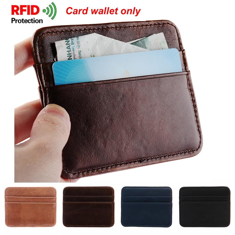 Pu Leather Wallet RFID Blocking Anti-chief Money Clip Credit Card Holder Pocket