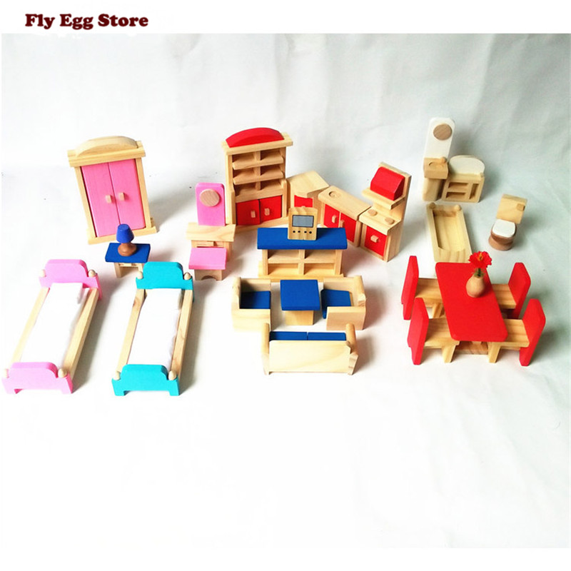 2016 Furniture doll house play pretend toy dollhouse DIY Bed Desk cabinet Accessories 3d Wood Model handmade Toy Children gift