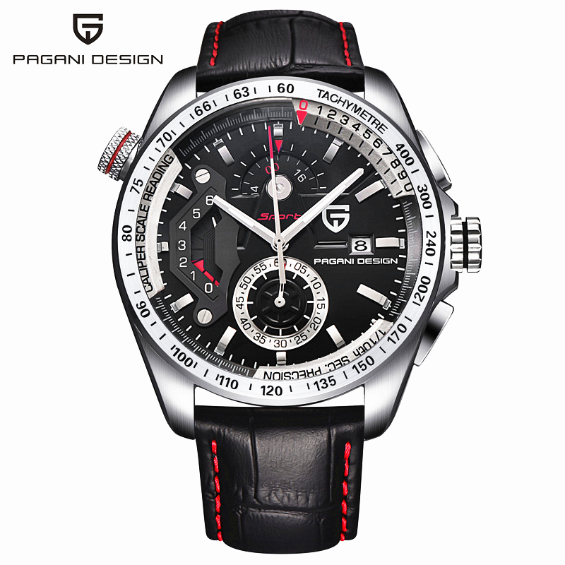 цены 2017 Fashion Brand PAGANI DESIGN Leather Quartz Watch Men Outdoor Sport Waterproof Calendar Male Clock Relogio Masculino